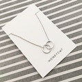 Honeycat Small Interlocking Circles Charm Necklace (Delicate Jewelry) - Thumbnail 3