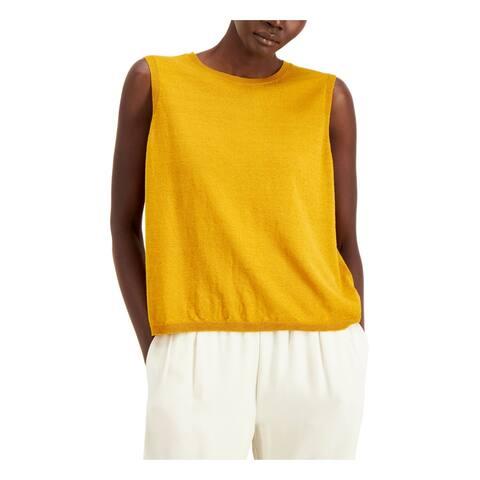 EILEEN FISHER Womens Gold Sleeveless Scoop Neck Sweater Size XL