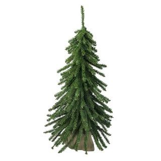 2' Downswept Mini Village Pine Artificial Christmas Tree in Burlap Base - Unlit