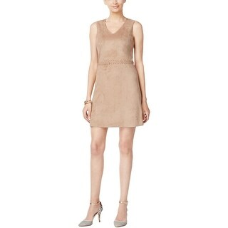 Cynthia Steffe Womens Party Dress Faux Suede V-Neck