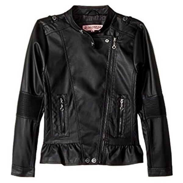 6048cb967 Urban Republic Little Girls Black Faux Leather Motorcycle Jacket