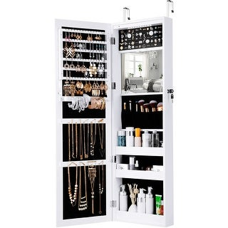 LANGRIA Mirrored Jewelry Armoire with 10 Automatic LED Lights and Full-Length Mirror Wall Door Mounted Cabinet Organizer