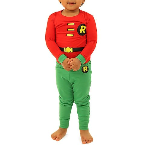 DC Comics Boys Superhero Robin Costume 2 Piece Pajama Set