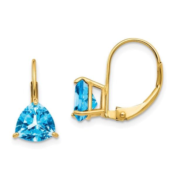 14K Yellow Gold 7mm Trillion Blue Topaz Leverback Earrings by Versil. Opens flyout.