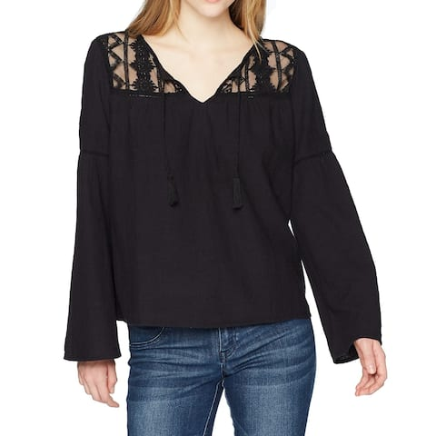 Roxy Black Womens Size Small S Mesh-Inset Bell Sleeve Blouse