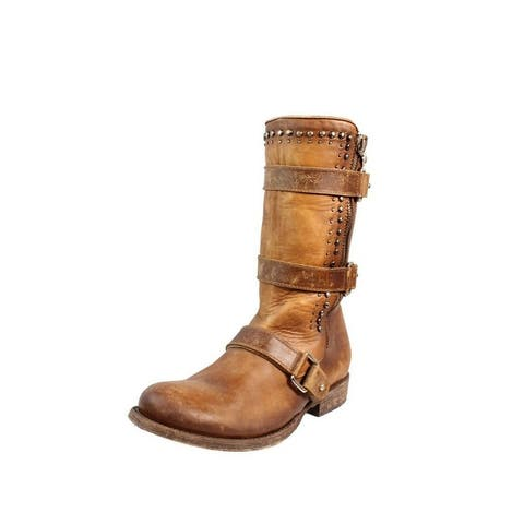 Corral Western Boots Womens Round Toe Harness Buckles Studs