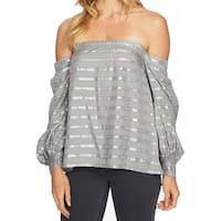 1.STATE Gray Women's Size XS Metallic Stripe Off Shoulder Blouse