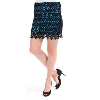 Womens Black, Teal Mini Pencil Skirt Size 6