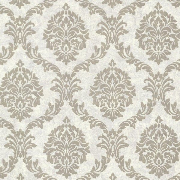 Brewster 495-69062 Tennyson Pewter Shimmer Damask Wallpaper - N/A
