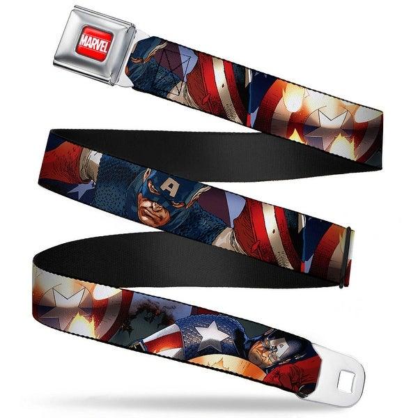 Marvel Universe Marvel Full Color Red White Marvel Universe Captain America Seatbelt Belt