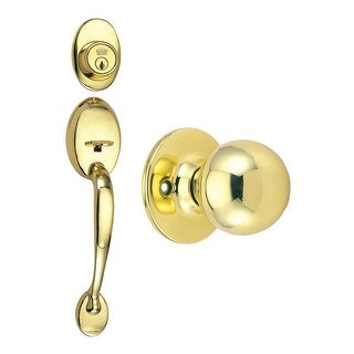 Design House 780940  Coventry Series Handleset with Ball Interior Knob - Polished Brass