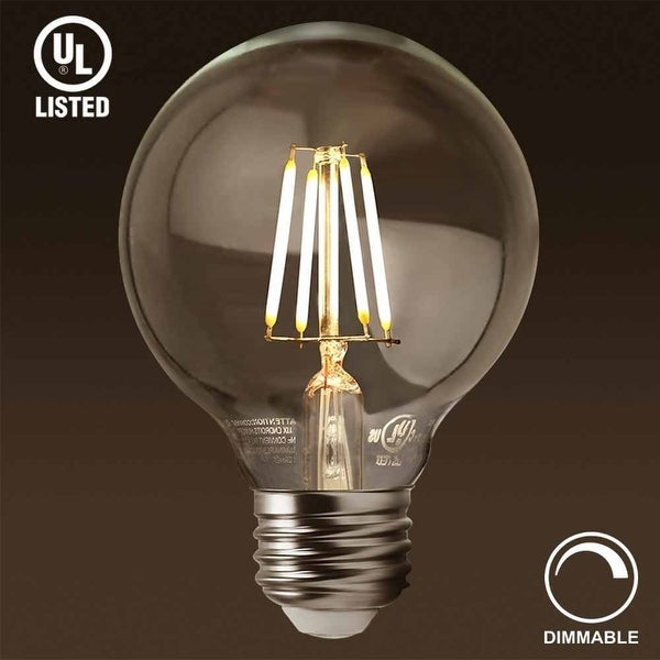 1/3 Pack Dimmable LED G25 Vintage Filament Light Bulb 4.5W,2700K Soft White, E26 Medium Base