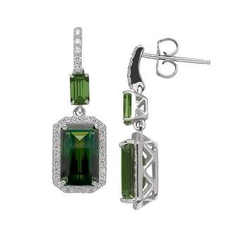 Drop Earrings with Green Swarovski Zirconia in Sterling Silver