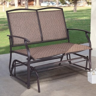 Costway Patio Glider Rocking Bench Double 2 Person Chair Loveseat Armchair Backyard Brown