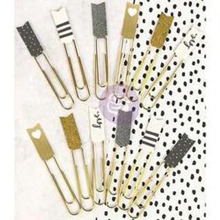 Gray; Gold & White W/Glitter & Foil - My Prima Planner Banner Paper Clips 12/Pkg