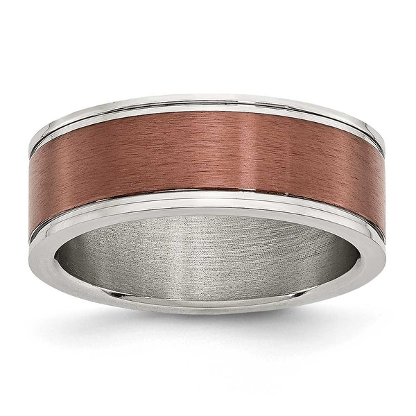 Stainless Steel 8mm Brown-plated Brushed & Polished Band