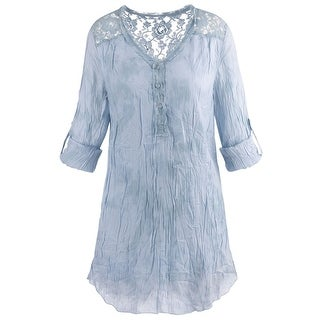Women's Floral Lace Tunic Top - Roll-Tab Sleeve Crinkled Texture V-Neck Blouse