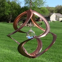 "11"" Mosaic Cosmix Wind Spinner: Copper Swirl Shape Centrally Hung Sun Catcher"