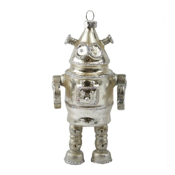 """5"""" Blast Off Retro-Style Silver Space-Droid Robot Glass Christmas Ornament"""