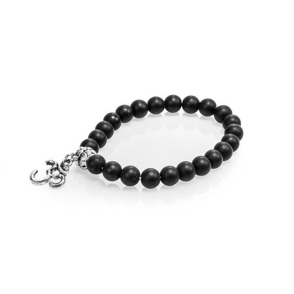 Natural Stone Meditation Stretch Bracelet Tibetan Mala with Good Luck Om Charm, Matte Black