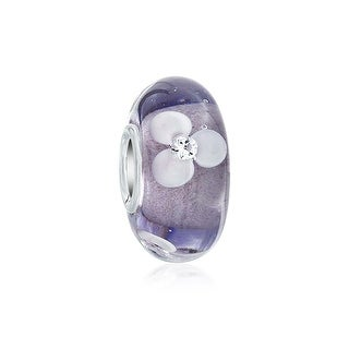 Bling Jewelry White and Purple Floral Murano Glass Lampwork Charm Bead .925 Sterling Silver