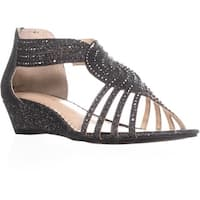 CC35 Ginifur Sequined Braided Sandals, Pewter