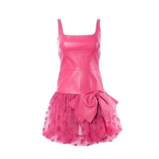Valentino Women's Hot Pink Leather Mesh Paneled Dress