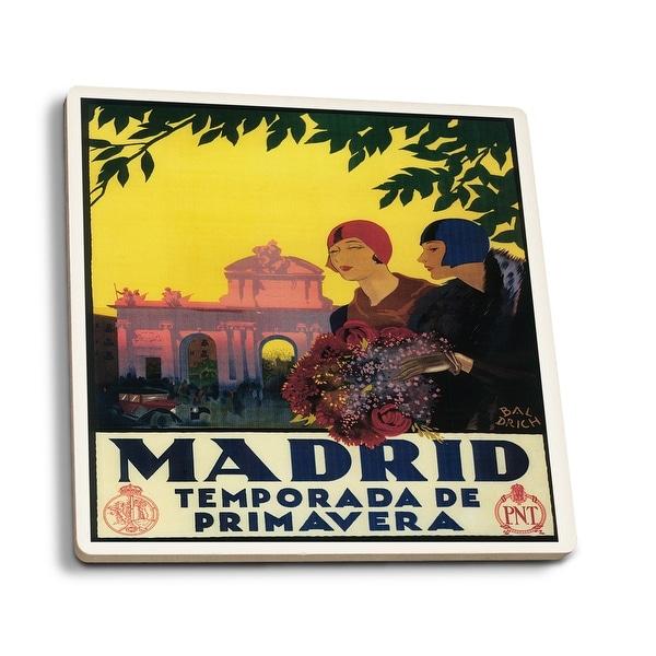 Madrid, Spain - Madrid in Springtime - Vintage Ad (Set of 4 Ceramic Coasters)