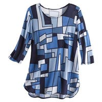 Caribe Women's Blue Geometric Shapes Print Tunic Top -3/4 Sleeve Artistic Blouse