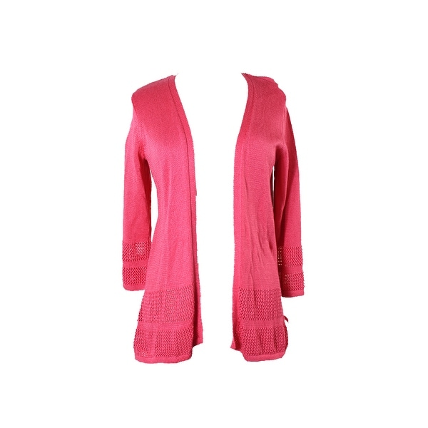Shop Jm Collection Pink Open-Front Knit-Pattern Cardigan L - Free ...