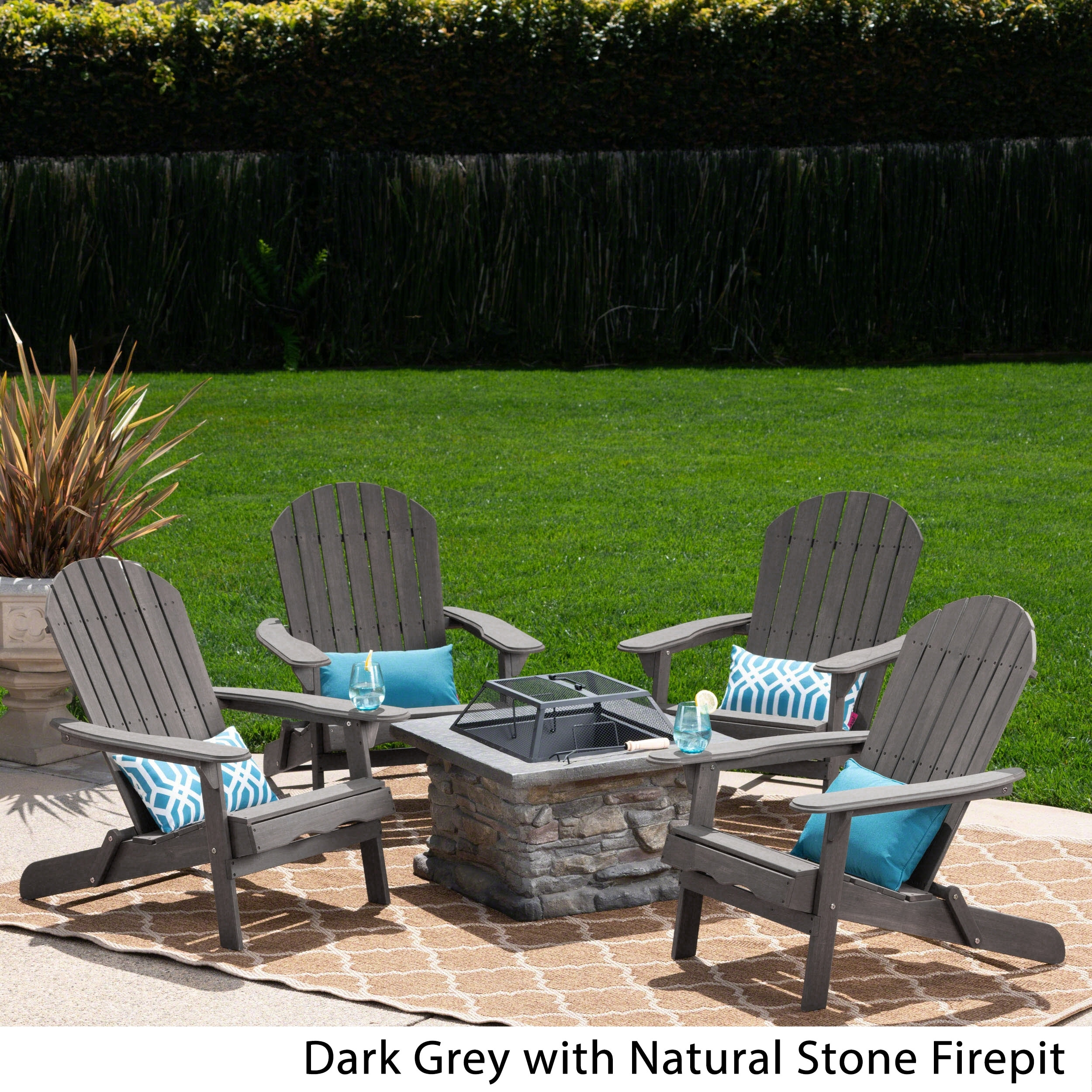 Shop Black Friday Deals On Marrion Outdoor 5 Piece Adirondack Chair Set With Fire Pit By Christopher Knight Home Overstock 21135655