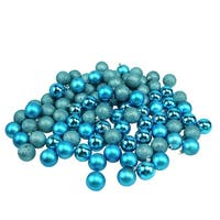 "96ct Turquoise Blue Shatterproof 4-Finish Christmas Ball Ornaments 1.5"" (40mm)"