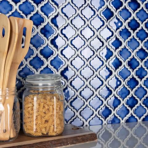 "SomerTile Hudson Tangier Sapphire 12.38"" x 12.5"" Porcelain Mosaic Tile"