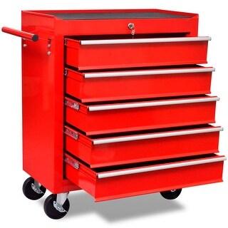 vidaXL Red Workshop Tool Trolley 5 Drawers