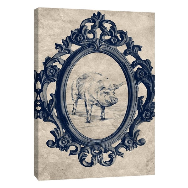 """PTM Images 9-108973 PTM Canvas Collection 10"""" x 8"""" - """"Framed Pig in Navy"""" Giclee Pigs Art Print on Canvas"""