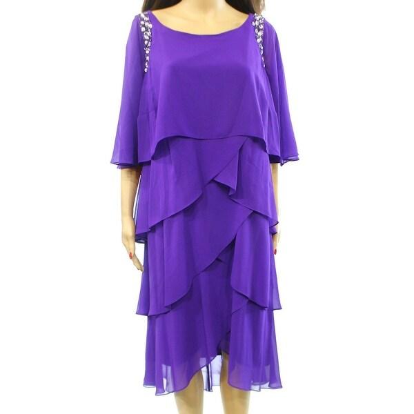 SLNY NEW Purple Jewel Women's Size 14W Plus Tiered Embellish Dress