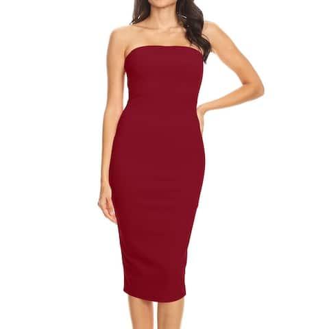 Women's Solid Strapless Bodycon Midi Dress