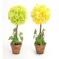 """Pack of 4 Yellow Hydrangea and Green Ivy Artificial Decorative Topiary 16.5"""""""