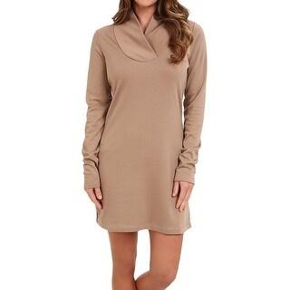 Lole NEW Brown Women's Size Large L Surplice Calm Sweater Dress