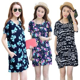 Womens Short Sleeve Casual Floral Printed Dress Loose Top Blouses Sundress