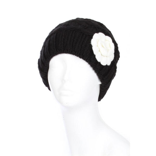 Women Two Tone Winter Beanie Hat with Flower