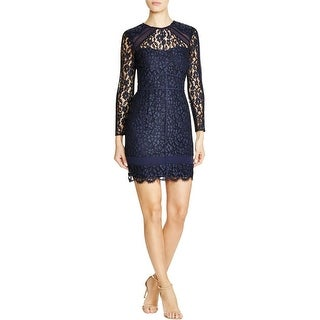 Adelyn Rae Womens Cocktail Dress Lace Overlay Mesh Insert