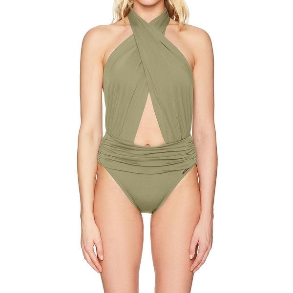 6086dc09b9 Shop Vince Camuto NEW Green Womens Size 4 Wrap Halter Neck One-Piece  Swimsuit - Free Shipping On Orders Over $45 - Overstock - 21027752