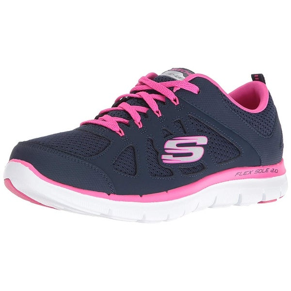 Details about Womens Skechers Flex Appeal 2.0 Simplistic Trainers in navy hot pink