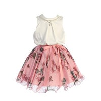 1507fb513b22 TGI Kids Little Girls Pink Floral Print Pearls Flower Girl Summer Dress