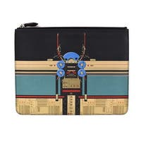 Givenchy Black Leather Graphic Robot Print SLG Large Clutch