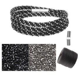 Refill - Beaded Kumihimo Wrap Bracelet Kit-Blk/Slv - Exclusive Beadaholique Jewelry Kit