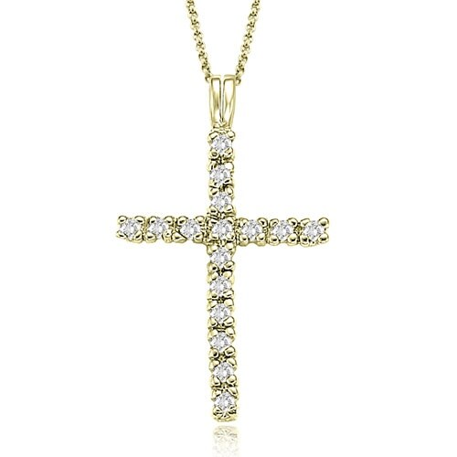 0.50 cttw. 14K Yellow Gold Round Cut Cross Diamond Pendant