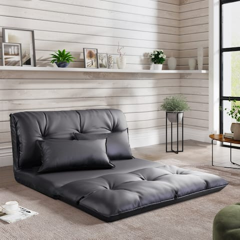 PU Leather Floor Chair Adjustable Sofa Bed Mattress Lazy Man Couch
