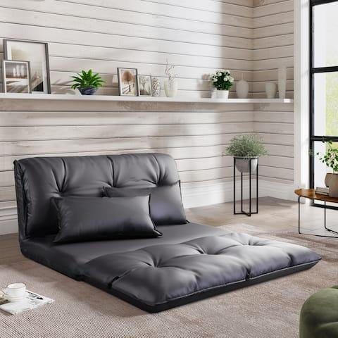 PU Leather Floor Chair Adjustable Sofa Bed